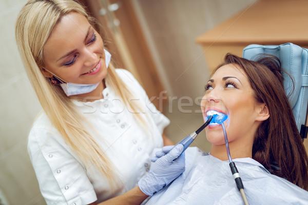 Diş doldurma güzel genç gülümseyen kadın ziyaret Stok fotoğraf © MilanMarkovic78