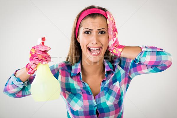 Frühjahrsputz Frau schreien tragen rosa Stock foto © MilanMarkovic78