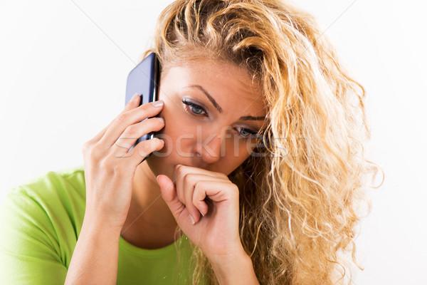 Emotionele stress portret jonge bezorgd vrouw Stockfoto © MilanMarkovic78