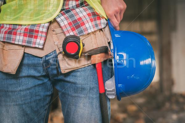 Elektricien bouwplaats bouwvakker Blauw helm Stockfoto © MilanMarkovic78