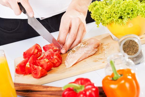 Alimentaire tomate poitrine de poulet planche à découper rouge Photo stock © MilanMarkovic78