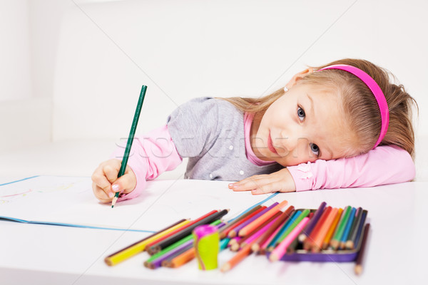 Little Girl With Colored Pencils  Stock photo © MilanMarkovic78