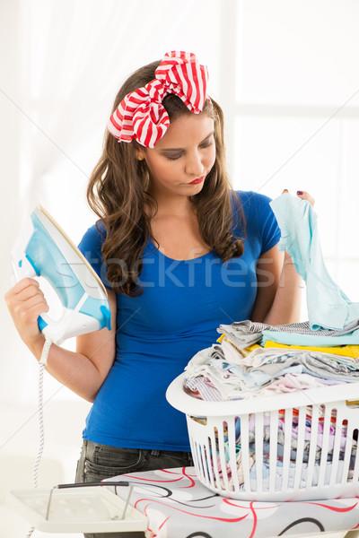 депрессия молодые домохозяйка корзины прачечной Сток-фото © MilanMarkovic78