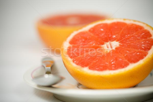 Rood grapefruit plaat textuur voedsel vruchten Stockfoto © MilanMarkovic78