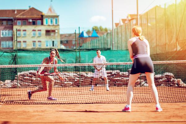 Friends On Tennis Training Stock photo © MilanMarkovic78