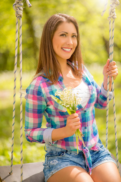 Spring Girl On The Swing Stock photo © MilanMarkovic78