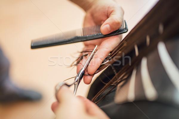 Haj vág közelkép férfi fodrász nő Stock fotó © MilanMarkovic78