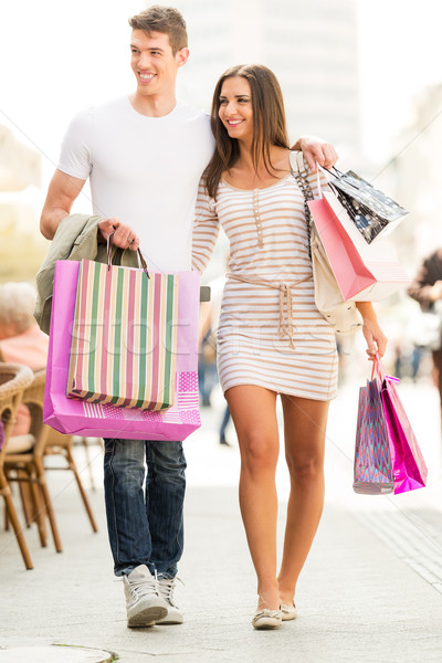 Amore shopping giovani felice sorridere Foto d'archivio © MilanMarkovic78