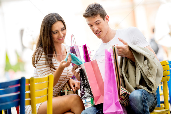 Stock photo: Couple In The Break After Shopping