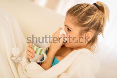 Fille belle fille mouchoir nez tasse Photo stock © MilanMarkovic78