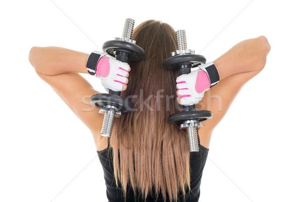 Triceps jonge vrouw oefening sport Stockfoto © MilanMarkovic78