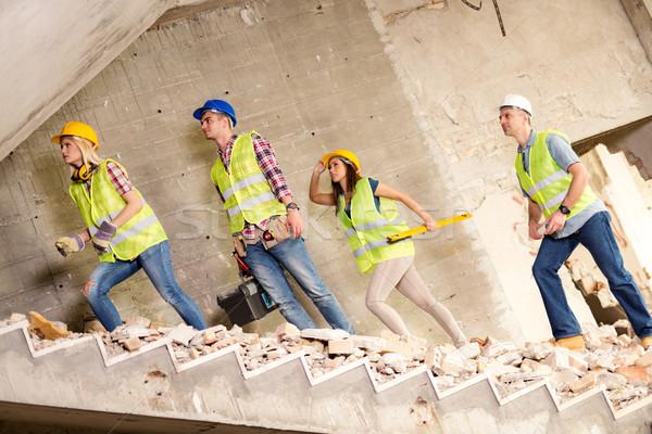 Foto stock: Equipe · quatro · construção · edifício · catástrofe