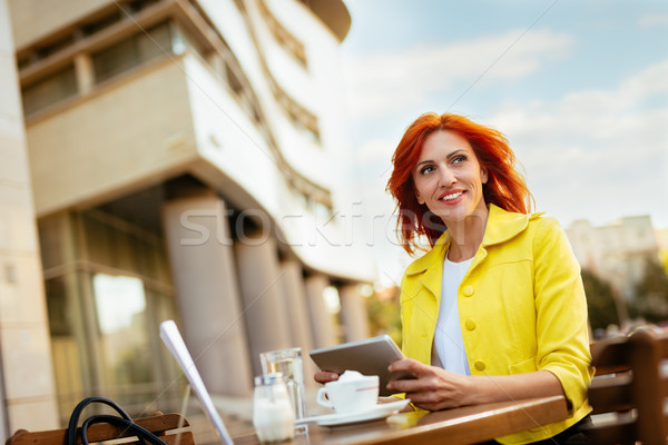 Businesswoman Working On A Coffee Break Stock photo © MilanMarkovic78