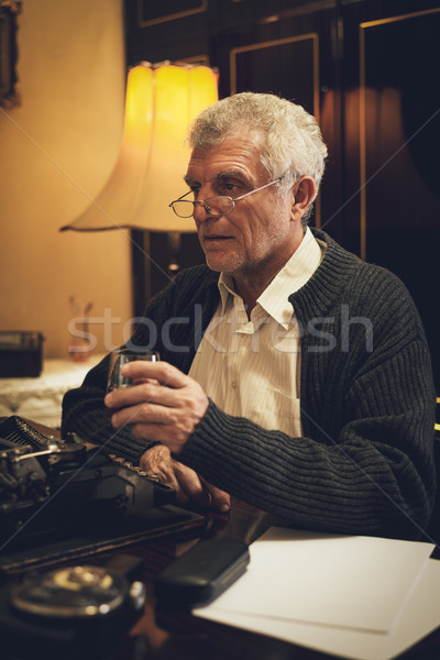 Retro Senior Man Writer With A Glass Of Whiskey Stock photo © MilanMarkovic78