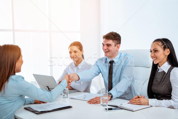 Stockfoto: Felicitatie · baan · jonge · zakenvrouw · sollicitatiegesprek · laptop