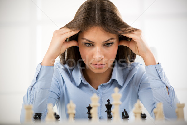 İş stratejisi genç güzel işkadını oturma üzerinde Stok fotoğraf © MilanMarkovic78