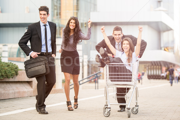 Fogyasztó sietség csoport fiatal üzletemberek utca Stock fotó © MilanMarkovic78