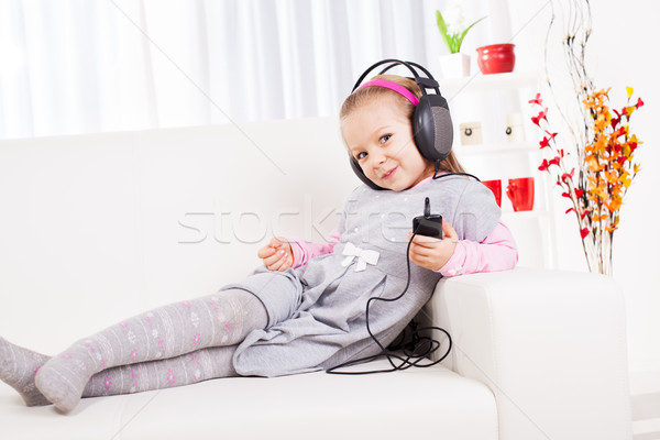 Little Girl Listening Music Stock photo © MilanMarkovic78