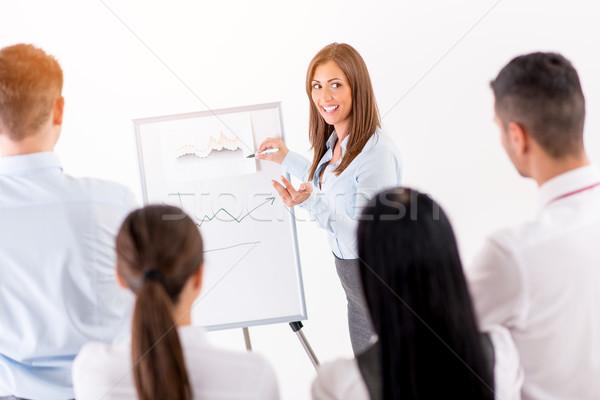 Businesswoman Pointing Flip Chart Stock photo © MilanMarkovic78