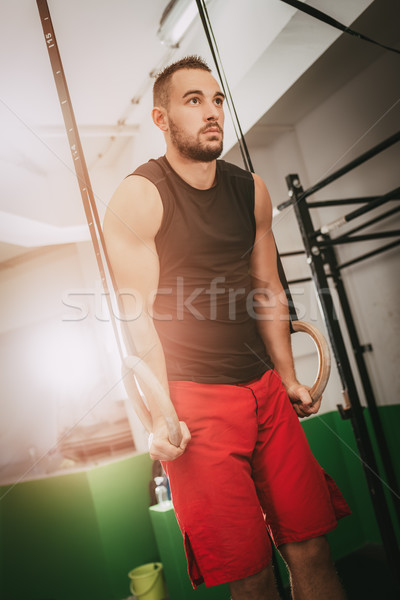 Stockfoto: Evenwicht · macht · gespierd · jonge · man · gymnast · ringen
