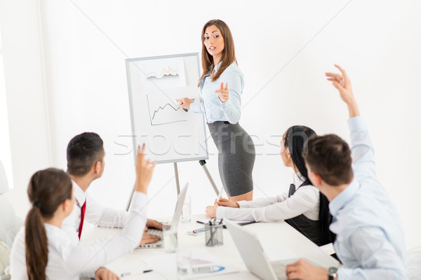 Businesswoman Pointing Flip Chart Stock photo © MilanMarkovic78