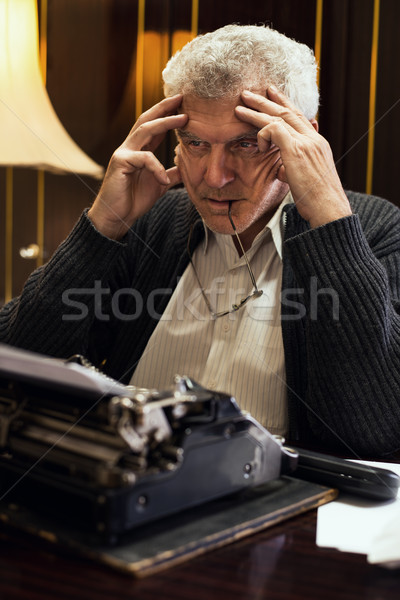 Worried Retro Senior Man Writer Stock photo © MilanMarkovic78