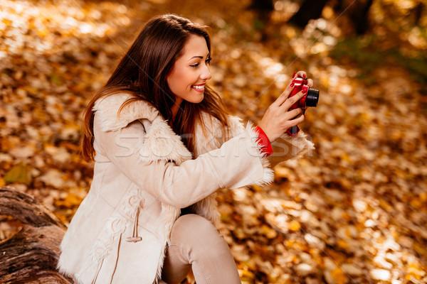 Outono memória belo sorridente menina Foto stock © MilanMarkovic78