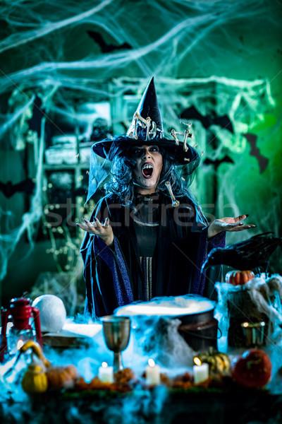Heks koken magie botten gezicht griezelig Stockfoto © MilanMarkovic78