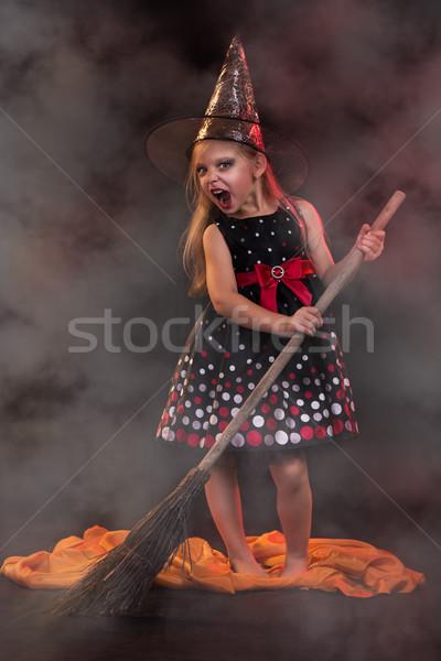 Halloween mały witch ciemne odzież miotła Zdjęcia stock © MilanMarkovic78