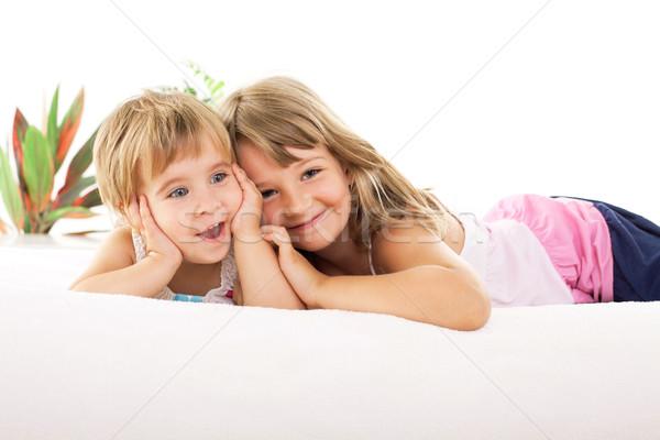 Photo stock: Heureux · deux · lit · enfant
