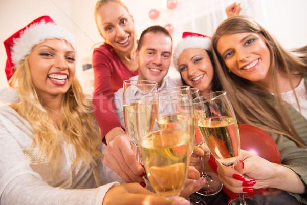 Christmas nowy rok szczęśliwy znajomych szkła Zdjęcia stock © MilanMarkovic78