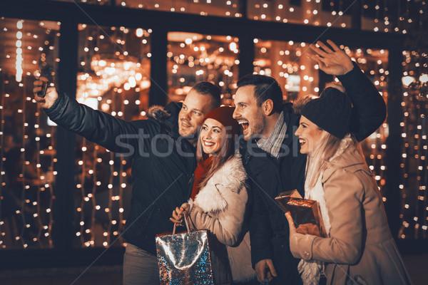 Jonge vrienden vier mooie Stockfoto © MilanMarkovic78