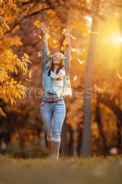 Happy Autumn Walking Stock photo © MilanMarkovic78
