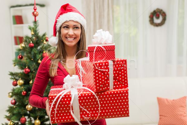 Natale presenta felice bella indossare Foto d'archivio © MilanMarkovic78
