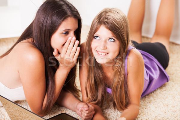 Chuchotement deux adolescente amis whisper Photo stock © MilanMarkovic78