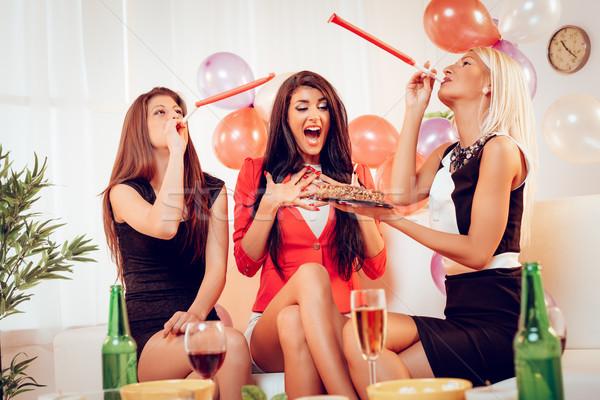 Cheerful Girls On Birthday Party Stock photo © MilanMarkovic78