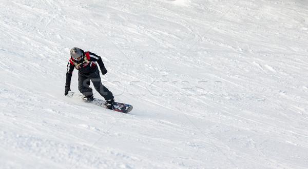 Snowboard fiatalember hódeszka élvezi tél nap Stock fotó © MilanMarkovic78