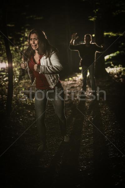 Fille échapper forêt jeunes peur femme Photo stock © MilanMarkovic78
