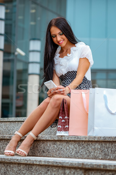 Blogging réussi Shopping fille beaucoup Photo stock © MilanMarkovic78