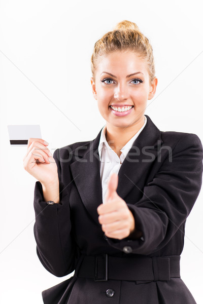 Businesswoman with master card Stock photo © MilanMarkovic78