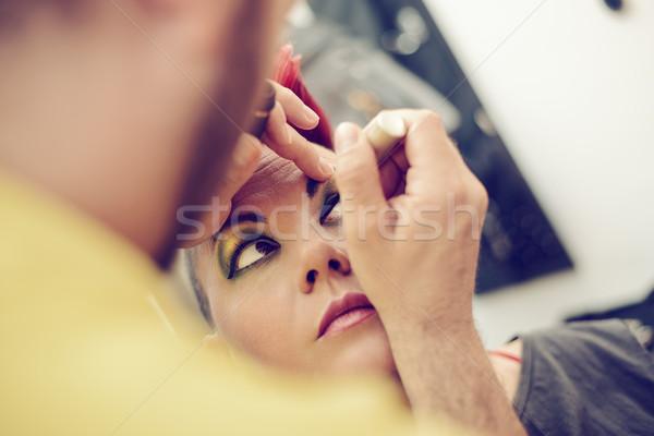 Smink férfi művész közelkép szemöldökceruza nő Stock fotó © MilanMarkovic78
