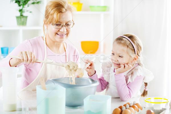 Abuela nieta hermosa feliz aprendizaje Foto stock © MilanMarkovic78