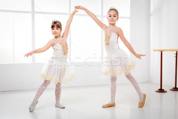 Stock fotó: Kicsi · kettő · aranyos · kislányok · gyakorol · balett