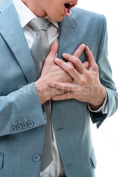 Fájdalom szív közelkép fiatal üzletember mellkas Stock fotó © MilanMarkovic78