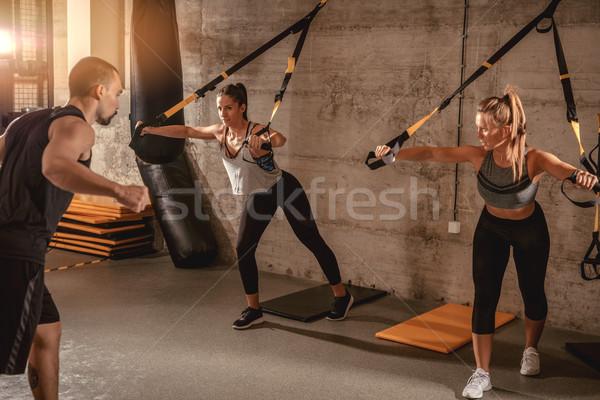 Foto stock: Treinamento · treinador · dois · personal · trainer