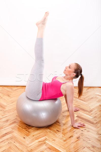 Pilates oefening jonge mooie vrouw fitness Stockfoto © MilanMarkovic78