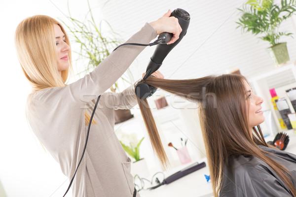 Salon de coiffure longtemps sèche-cheveux travail belle Photo stock © MilanMarkovic78