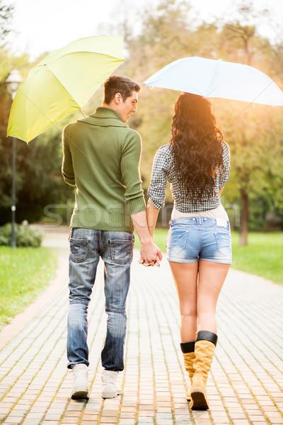 Couple Walking In The Rain Stock photo © MilanMarkovic78