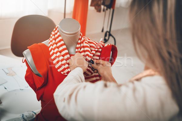 Stockfoto: Jurk · etalagepop · jonge · vrouwelijke · mode