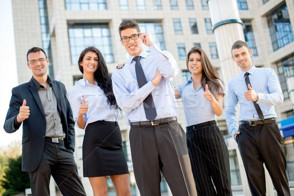 Stockfoto: Mijn · team · jonge · zakenman · bril · permanente